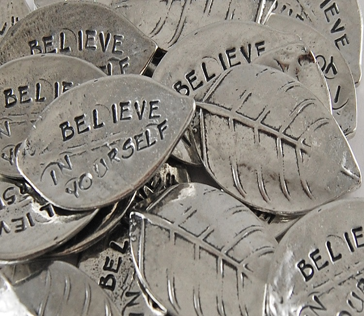 Believe in Yourself - Leaf Shaped Sentiment Token